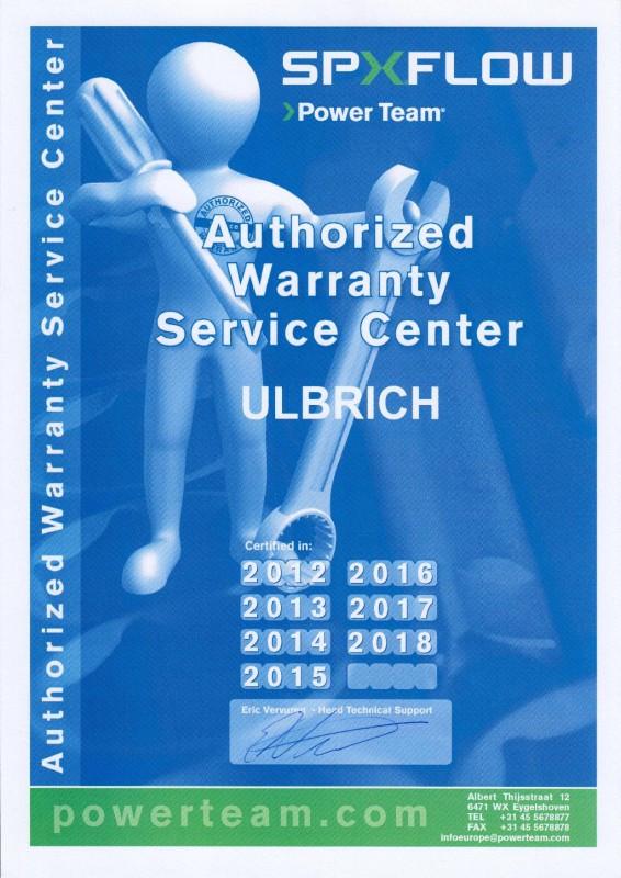 AUTHORIZED WARRANTY SERVICE CENTER - ULBRICH